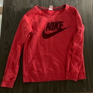 Red Nike Off the Shoulder Sweatshirt